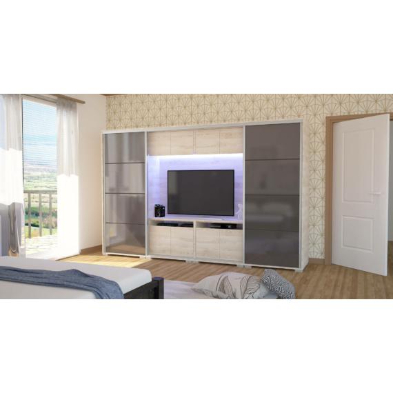 magasfényű Bond tv-s gardrób 318 cm széles