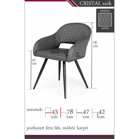 cristal szék szürke színben