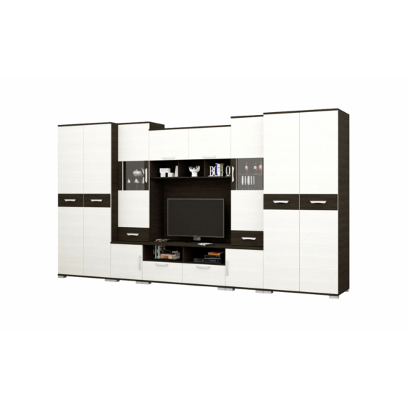 Basel 400 cm-es szekrénysor nero-bianco színkombinációban