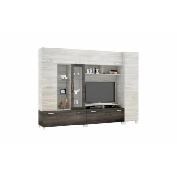 Detroit 290 cm-es nappali szekrénysor canterbury-katthult színkombinációban