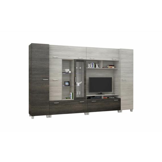 Detroit 340 cm-es nappali szekrénysor canterbury-katthult színkombinációban