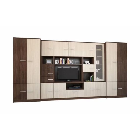 Firenze 380 cm-es nappali szekrénysor ferrara tölgy és zebrano színkombínációban