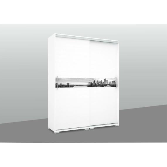 City gardrób 160 cm széles rusztik fehér szinben grafikával