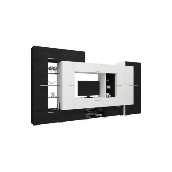Komfort szekrénysor nero-bianco színben 405cm-es kivitel.