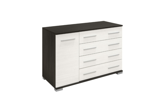 Komfort 4 fiókos, ajtós komód nero-bianco színben